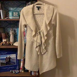 Long sleeve cream cardigan sweater tie-waisted